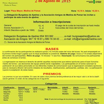 VI Open internacional de Ajedrez Medina de Pomar 2015