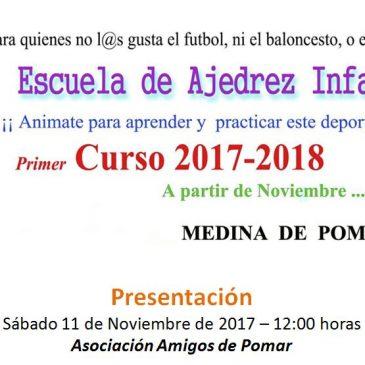 Presentación de la escuela de Ajedrez Infantil – Sábado 11-11-17